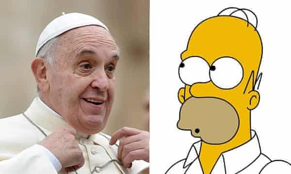 Pope Francis and Homer Simpson.