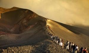 Tour Group Climbing Mount Etna; Taormina, Sicily, Italy