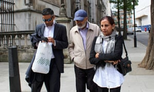 The family of Navinder Sarao leave the high court in London, 20 May 2015.