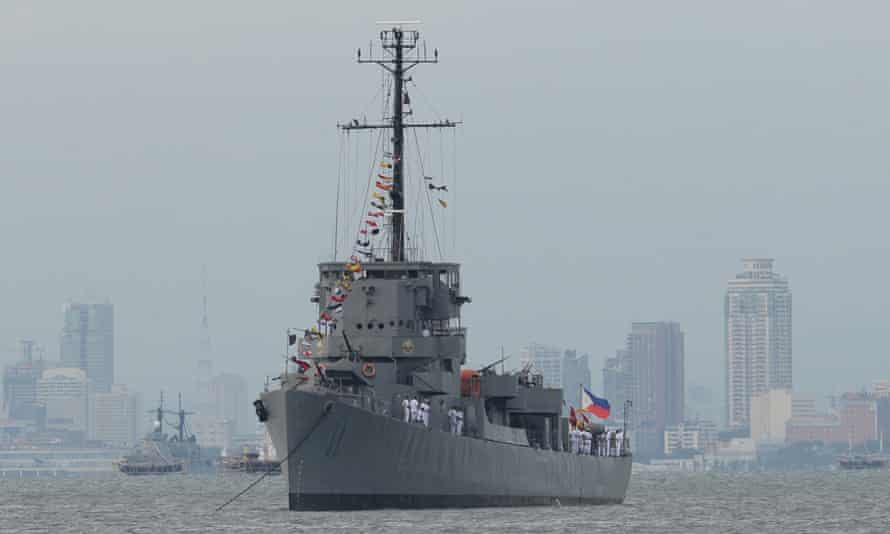 The Philippine navy's second world war-vintage warship BRP Rajah Humabon at anchor: the Philippine navy is one of the weakest in the region, but the government has been modernising its armed forces in the face of China's expansion in the South China Sea.