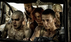 Breaking the law ... George Miller, Charlize Theron, Nicholas Hoult, and Rosie Huntington Whiteley in Mad Max: Fury Road.