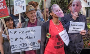 A protest against zero-hours contracts in Park Lane, London.