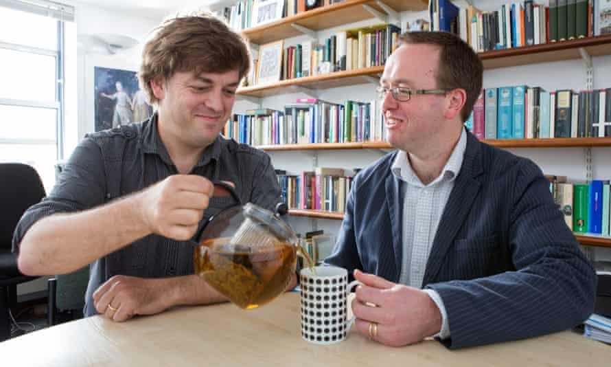 Matthew Mauger, left, and Richard Coulton, the lecturers who found the oldest tea in England.