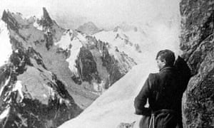 George Mallory on the Moine ridge of the Aiguille Verte mountain in France. He died in 1924 on his third attempt to climb Mount Everest.