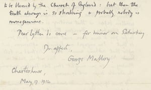 'Probably nobody is monogamous': George Mallory letters to be auctioned at Bonhams in June.