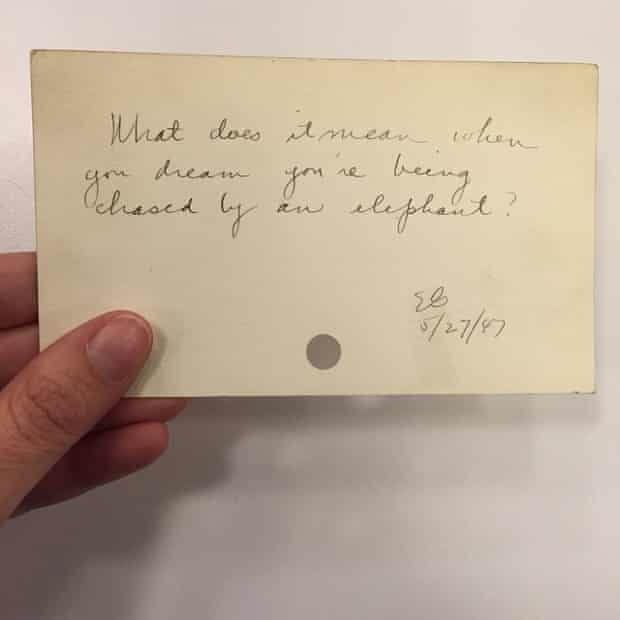 """""""What does it mean when you dream you're being chased by an elephant?"""" 5/27/47"""