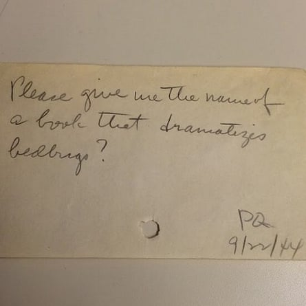 """Please give me the name of a book that dramatizes bedbugs? - PQ 9/22/44"""