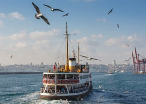 A ferry crosses the Bosphorus in Istanbul.
