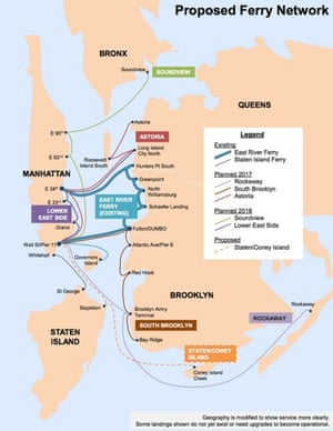 New York's proposed ferry network