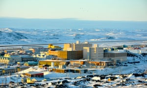 A view of Iqaluit, with the airport runway in the background.