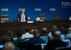 Walter de Gregorio speaking to reporters at Fifa's headquarters earlier.