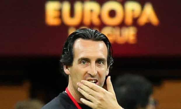 Sevilla's head coach Unai Emery leads his team's training session at the National Stadium in Warsaw before the Europa League final.