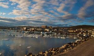 Iqaluit's summer boat launch area and breakwater.