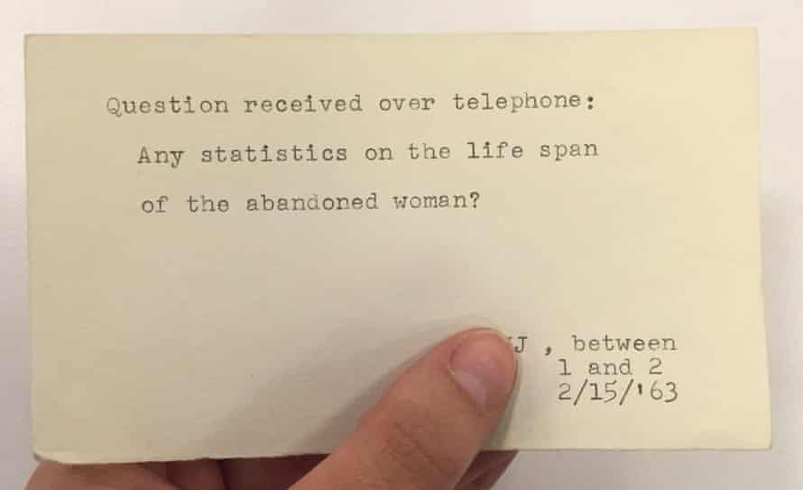 """""""Question received over telephone: Any statistics on the life span of the abandoned woman?"""""""