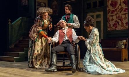 Jane Booker as Lady Bountiful, Samuel Barnett as Aimwell, Geoffrey Streatfeild (rear) as Archer and Pippa Bennett-Warner as Dorinda in The Beaux' Stratagem, directed by Simon Godwin.