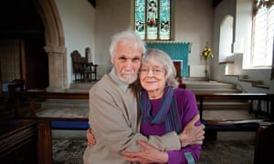 'The first time, he brought me a box of Black Magic. Then onions in a plastic bag. I laughed so much': Doug and June in Pakefield Church, Lowestoft, where they were married in 2006.