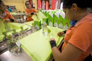 The tissue wrapping is placed around a bottle of Patron silver tequila . Between the agave fields and the wrapping room, at least 60 hands touch each bottle of Patron.