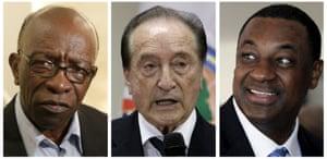 Indicted: left to right, Jack Warner, Eugenio Figueredo and Jeffrey Webb.