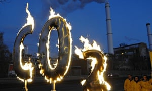 Greenpeace activists burn a symbol of CO2