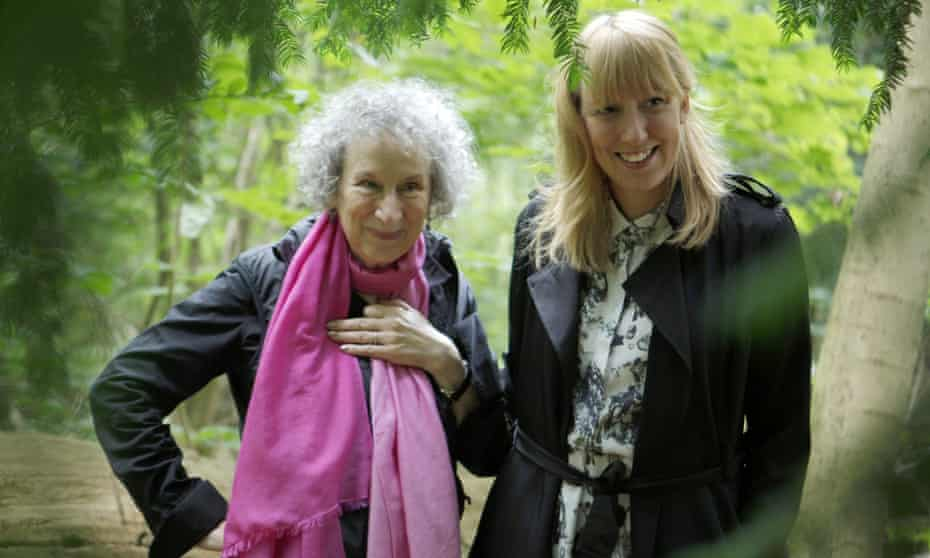 Margaret Atwood and artist Katie Paterson in Oslo's Nordmarka forest.