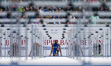 A sprinter faces a set of hurdles