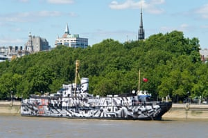 HMS President transformed by German artist Tobias Rehberger in dazzle camouflage print as part of the first world war centenary in London in 2014