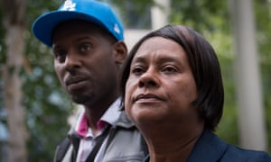 Doreen Lawrence, the mother of murdered teenager Stephen Lawrence, leaving the Home Office with her son Stuart, following a meeting with the Home Secretary Theresa May.