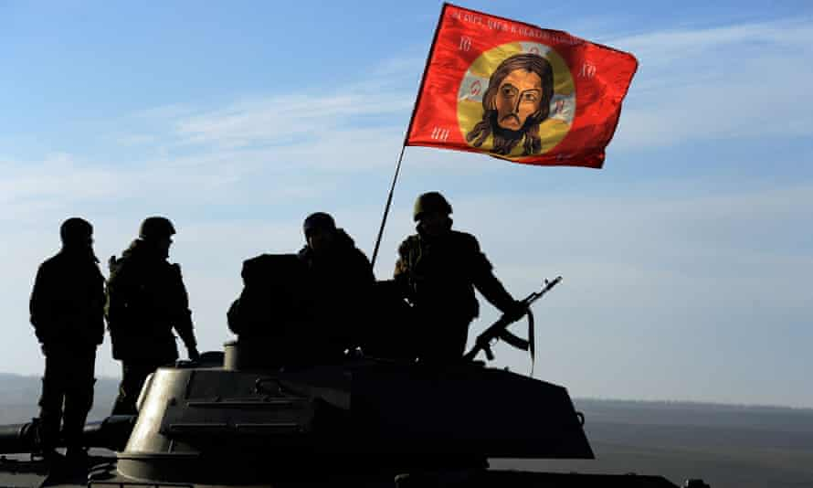 Pro-Russia militants at the frontline of the Ukraine crisis, near the city of Starobeshevo in the Donetsk region.