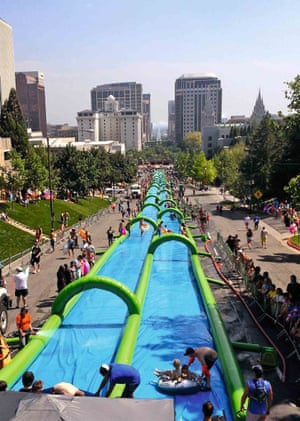 Waterslide in the city