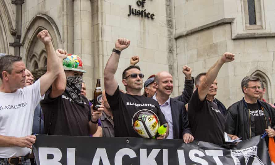 Blacklisted workers demonstrating outside the high court last year.