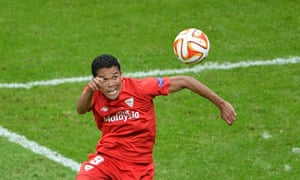 Sevilla's Carlos Bacca comes close to getting his hat-trick but is denied by the Dnipro keeper.