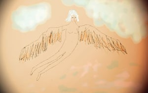 Me in a 'flying' dream..... Digital drawing/pastels