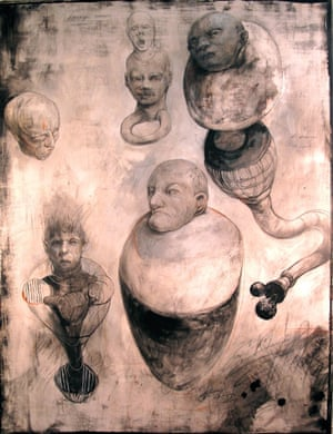 """Mark Greenwalt, """"Hyperscopic Samples"""" 2014 Drawing with graphite and acrylic on panel, this image conveys a genesis of dislocated ideas through forming, deforming, and reforming figures in fluid processes parallel to dreaming"""