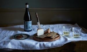 apple butter with cheese, wine and crackers