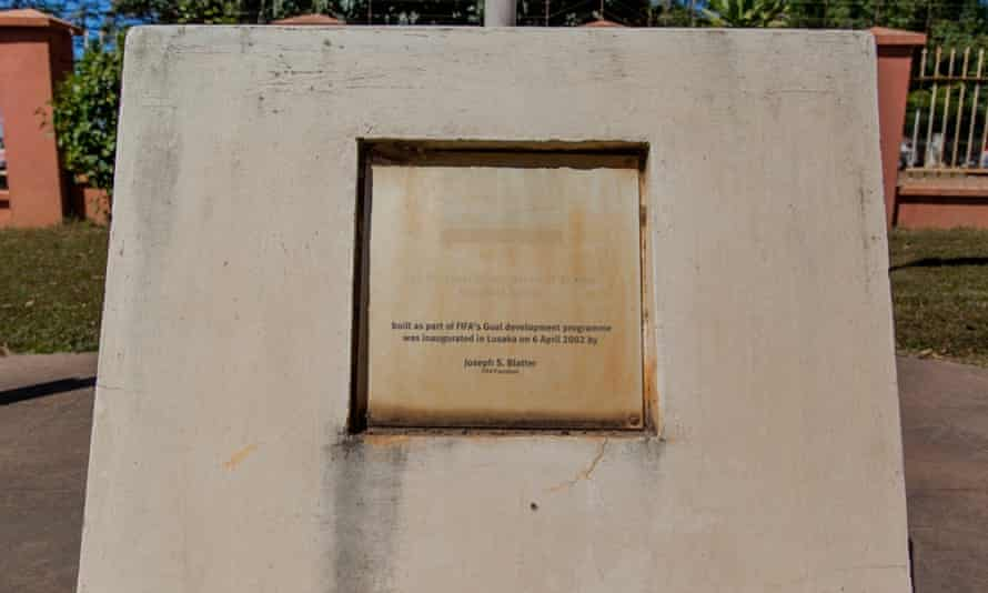 An inscription at the Zambian FA headquarters marks the input from Sepp Blatter.