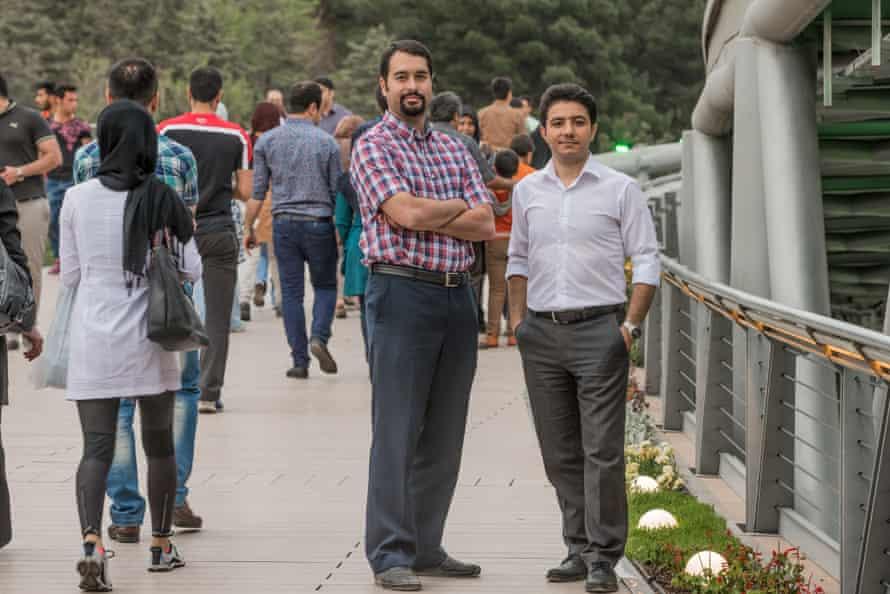 Aparat's Mohammad-Javad Shakouri Moghaddam, left, and Hamid Mohammadi of Digikala, Iran's version of Amazon.