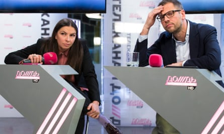 The owner of TV Rain Alexander Vinokurov, with director Nataliya Sindeyeva.