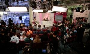 Freed Pussy Riot members Nadezhda Tolokonnikova and Maria Alyokhina hold a news conference at the TV Rain studios in December 2013