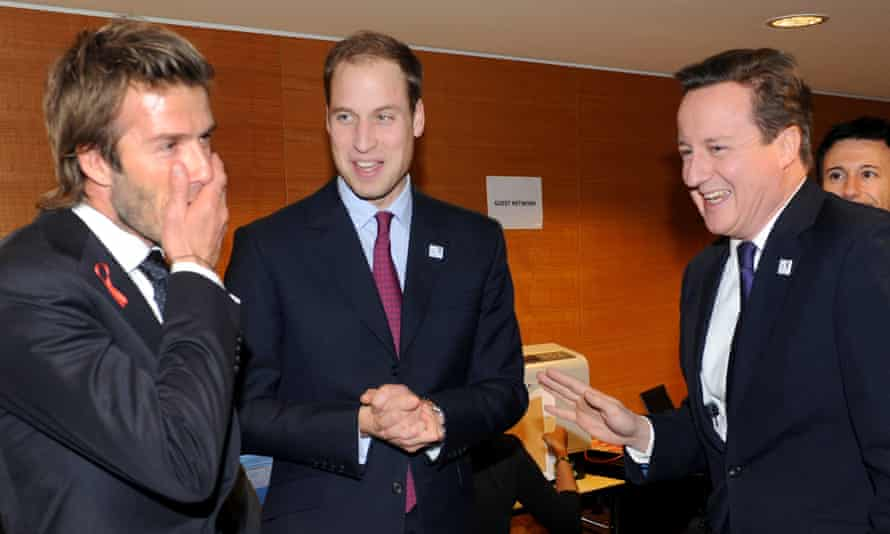 David Beckham, Prince William and David Cameron during a reception at a hotel a day before they learned England would not get the 2018 World Cup.