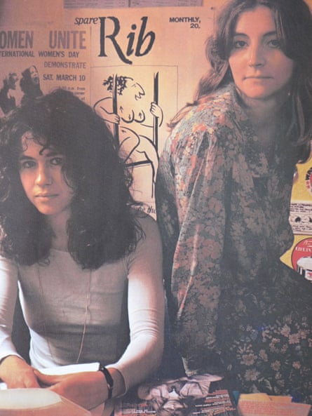 Marsha Rowe and Rosie Boycott in the Spare Rib offices, 1972.