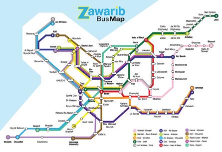Beirut bus map