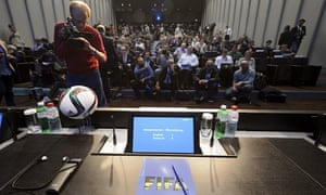 Journalists await a press conference at the FIFA headquarters in Zurich.