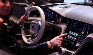 Apple display inside a Volvo car