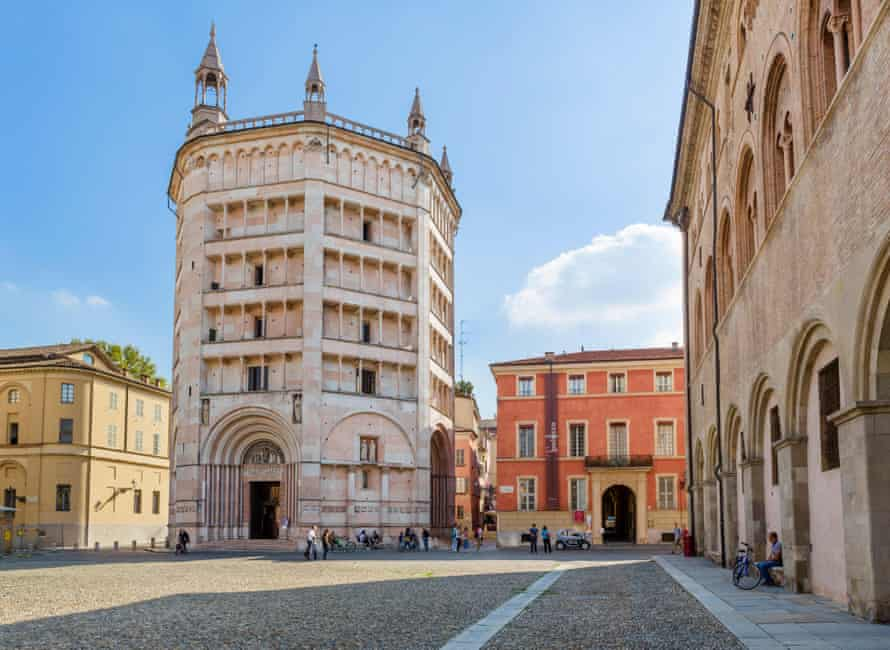 The octagonal medieval baptistery in the Piazza Duomo, Parma.