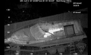 Thermal image released by the Massachusetts State Police Air Wing, shows the boat in which Jahar hid.