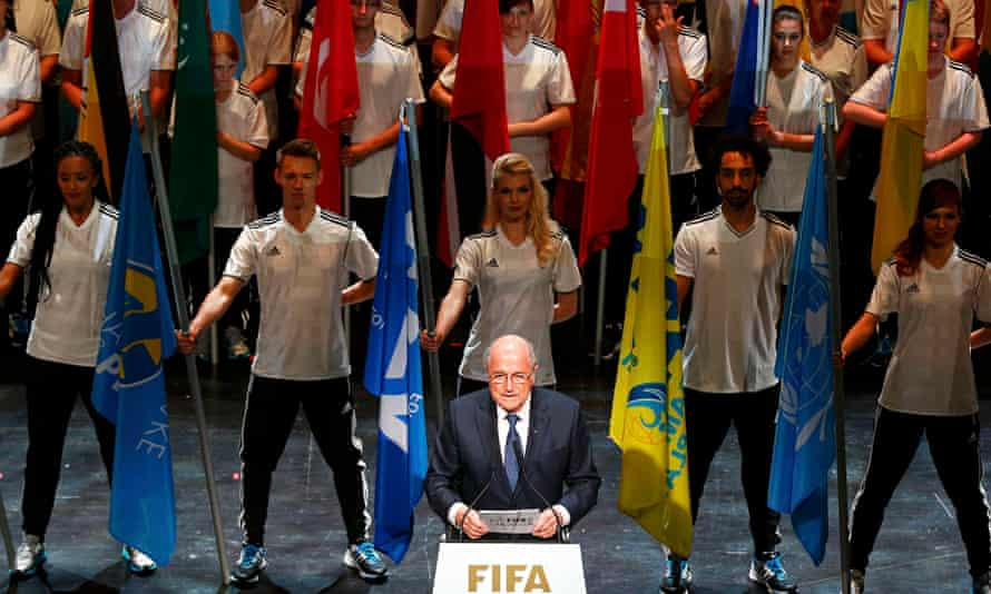 FIFA President Blatter makes speech during opening ceremony of 65th FIFA Congress in Zurich