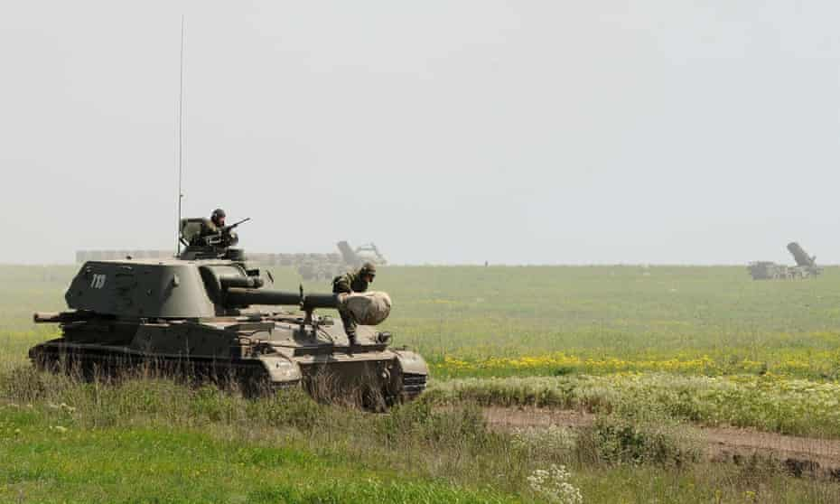 Russian military vehicles at the Kuzminsky training ground in the Rostov region, about 30 miles from the Russian-Ukrainian border.