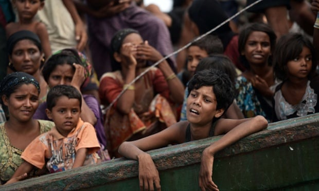 Rohingya migrants on a boat drifting in Thai waters