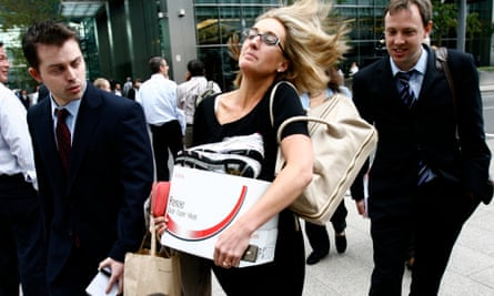London-based employees at Lehman Brothers leave with just their belongings when the 158-year-old firm collapsed in 2008.