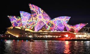 The Opera House all lit up for Vivid.